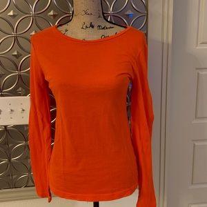 J.Crew Women's Orange Long Sleeve Shirt -Medium